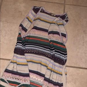 Knit tank cardigan-multicolored striped